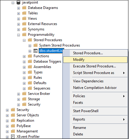 Stored Procedure in SQL Server