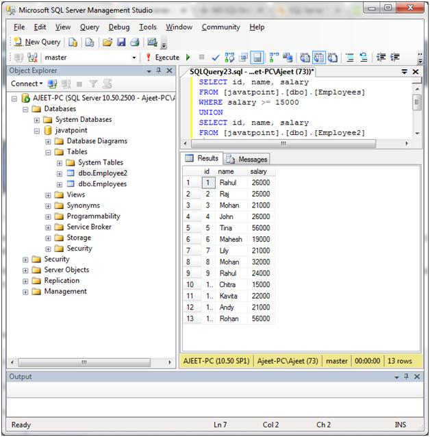 SQL union operator 3