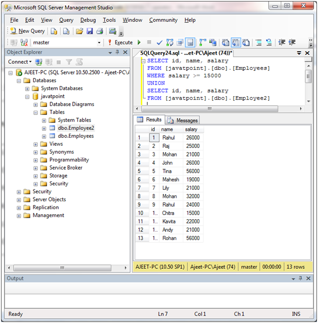 SQL union operator 4