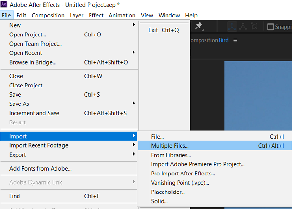 After Effect- Importing Footage