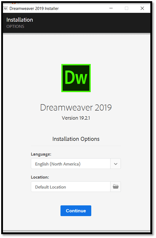 Installation of Adobe Dreamweaver