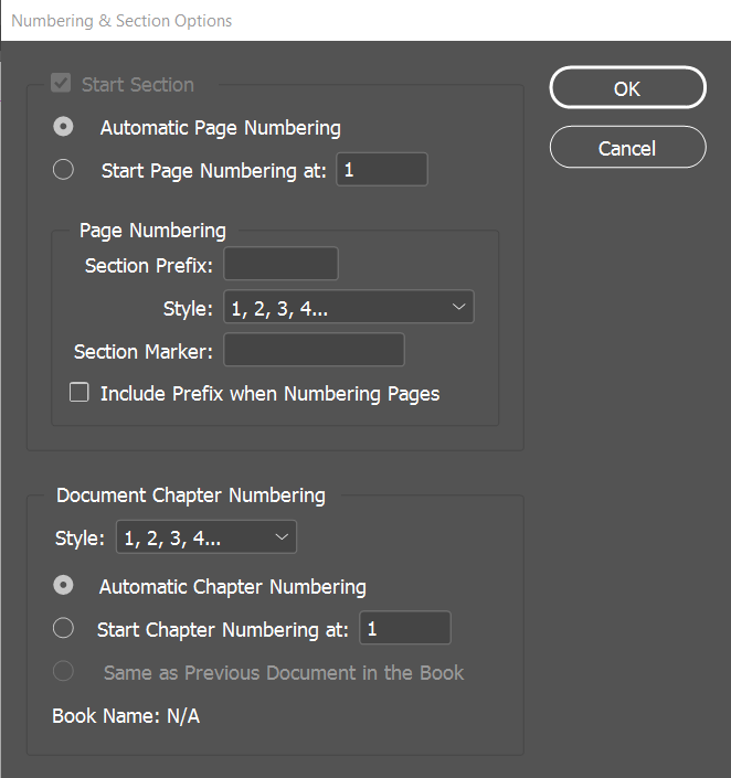 Adobe InDesign - Section Options & Text Frames