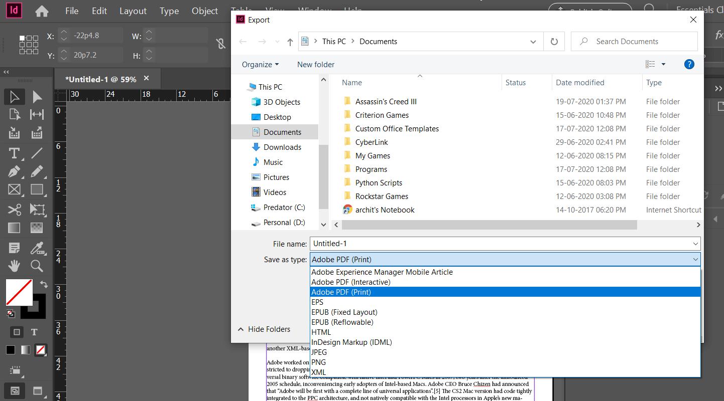 Adobe InDesign - Story Editor