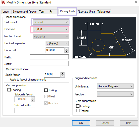 AutoCAD Dimension Style Manager