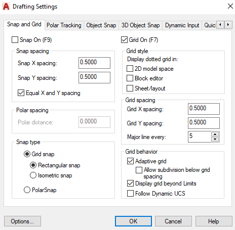 AutoCAD Drafting Settings