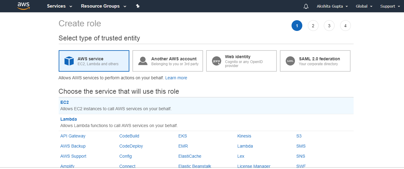 AWS Creating IAM Roles - Javatpoint