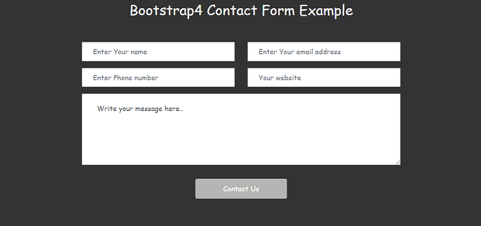 Bootstrap 4 Contact form