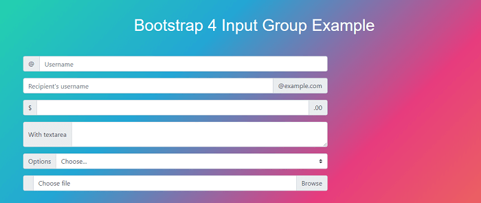 Bootstrap 4 Input groups