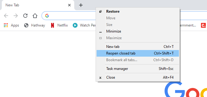 How to restore tabs in Chrome