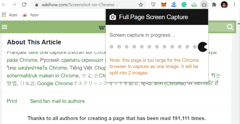 How to take a screenshot on Chrome