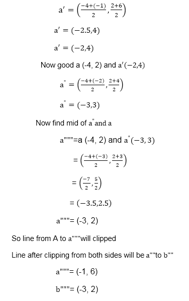 Mid Point Subdivision Line Clipping Algorithm