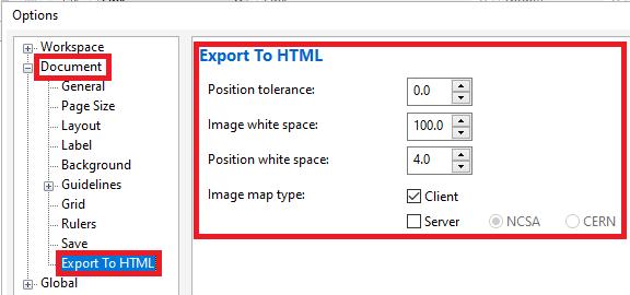 CorelDRAW Export to HTML