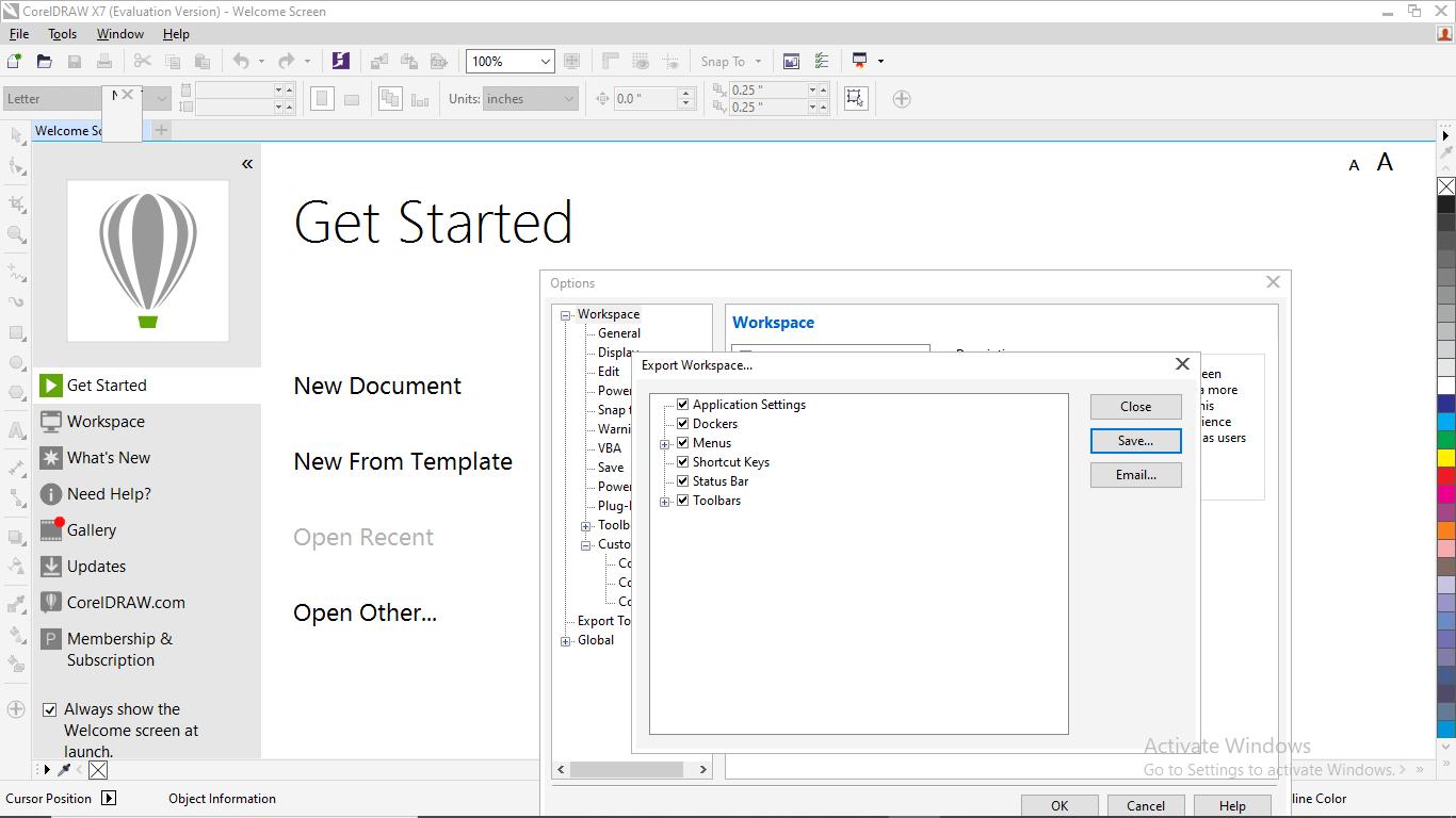 CorelDRAW Workspace Customization