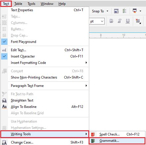 CorelDRAW Writing tools
