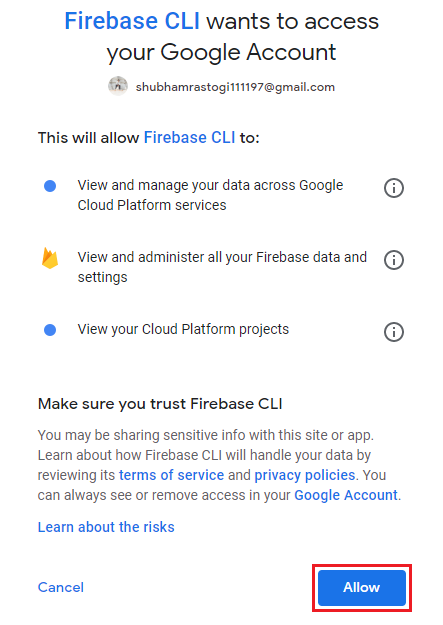 Firebase Creating and Deploying Cloud Function
