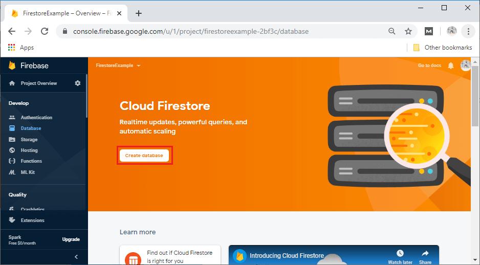 Firebase Firestore setup and configuration
