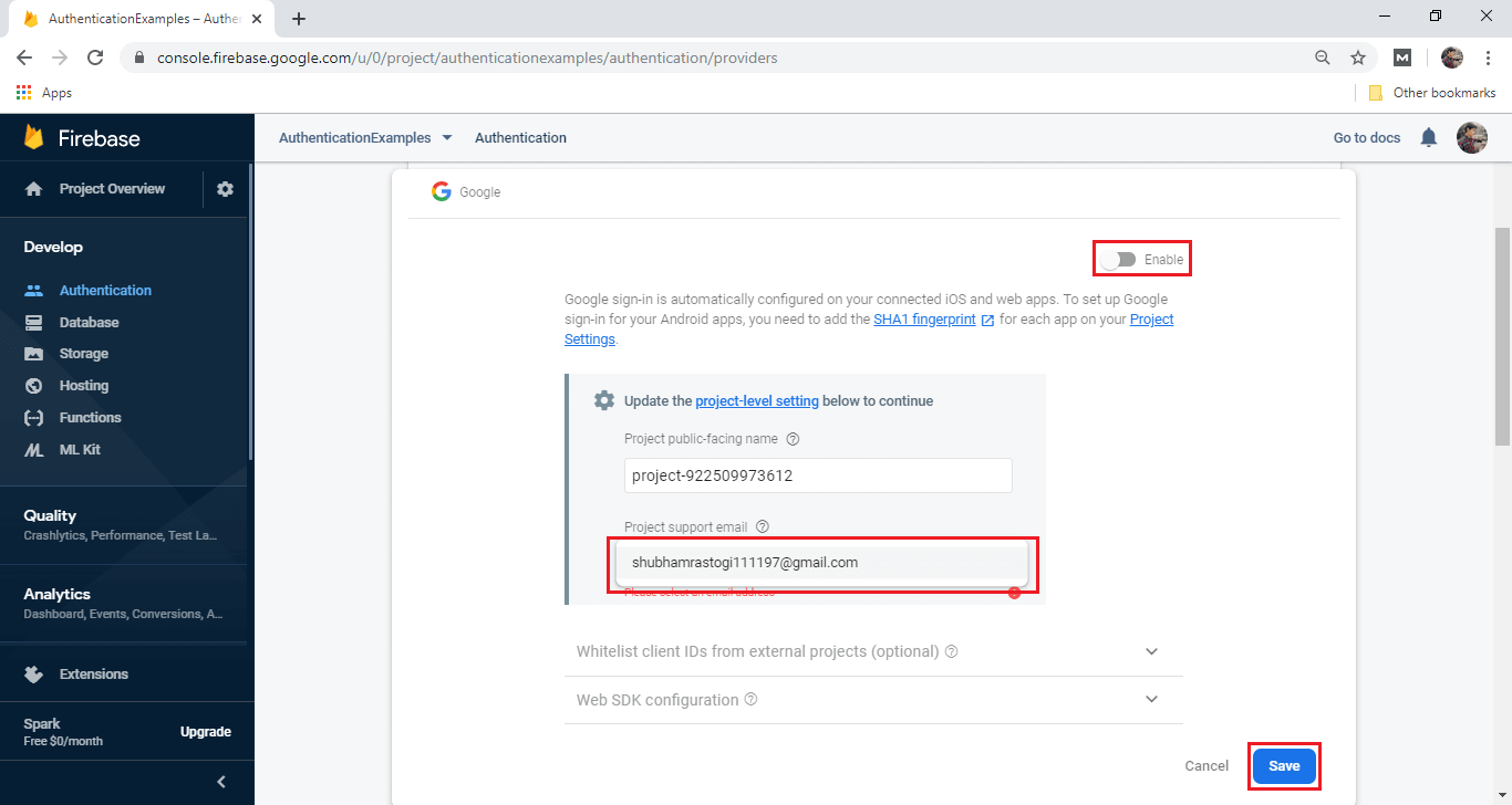 Firebase Google Sign in Authentication