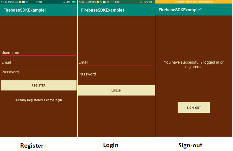 Firebase SDK Authentication using email password