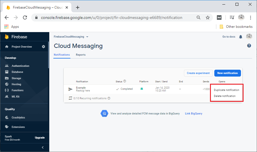 Firebase Types of Message