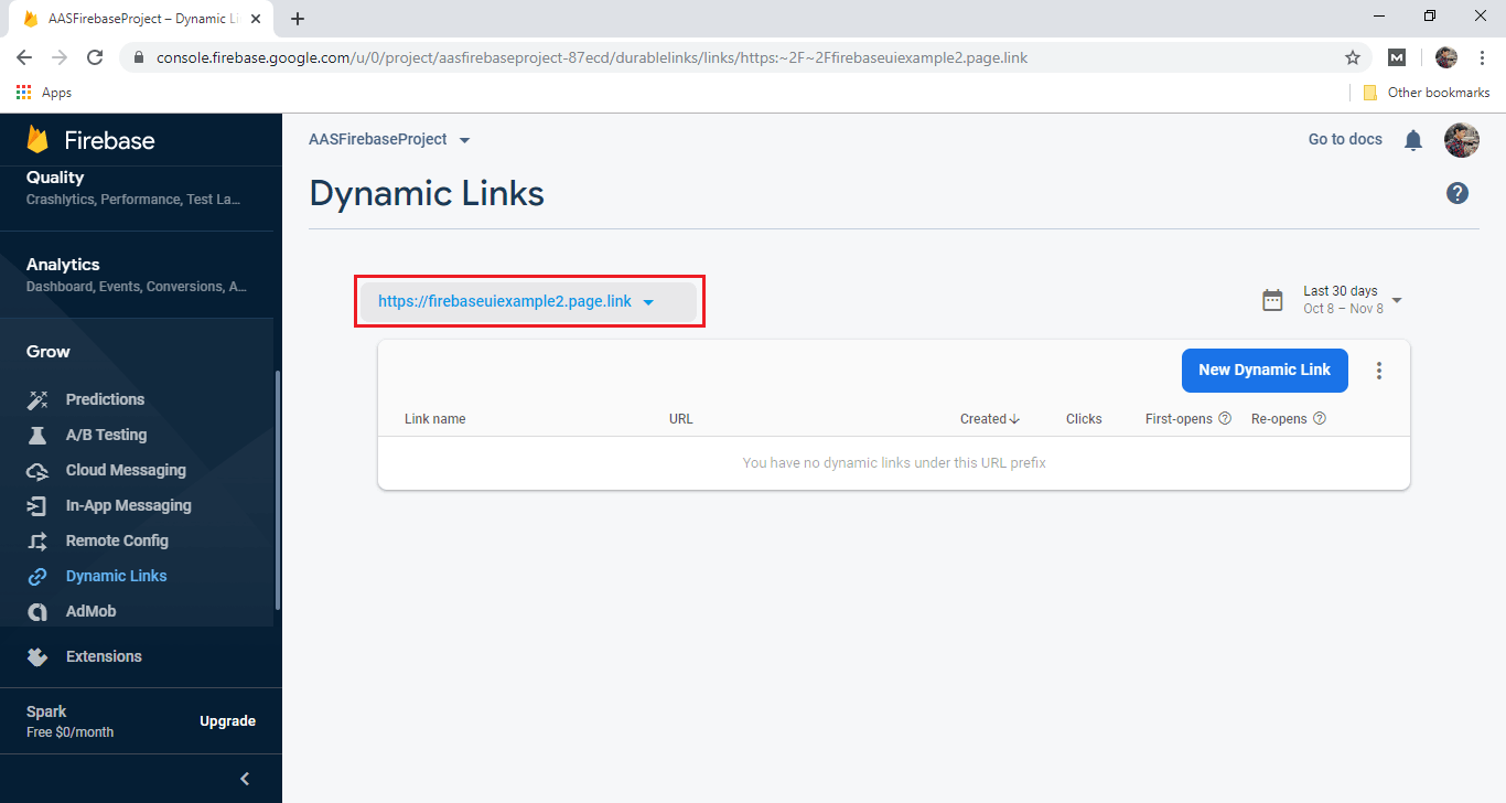 Firebase Authentication using email link