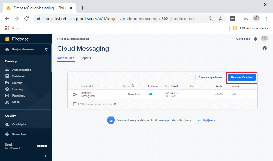 Sending a Notification Message using Firebase Cloud Messaging