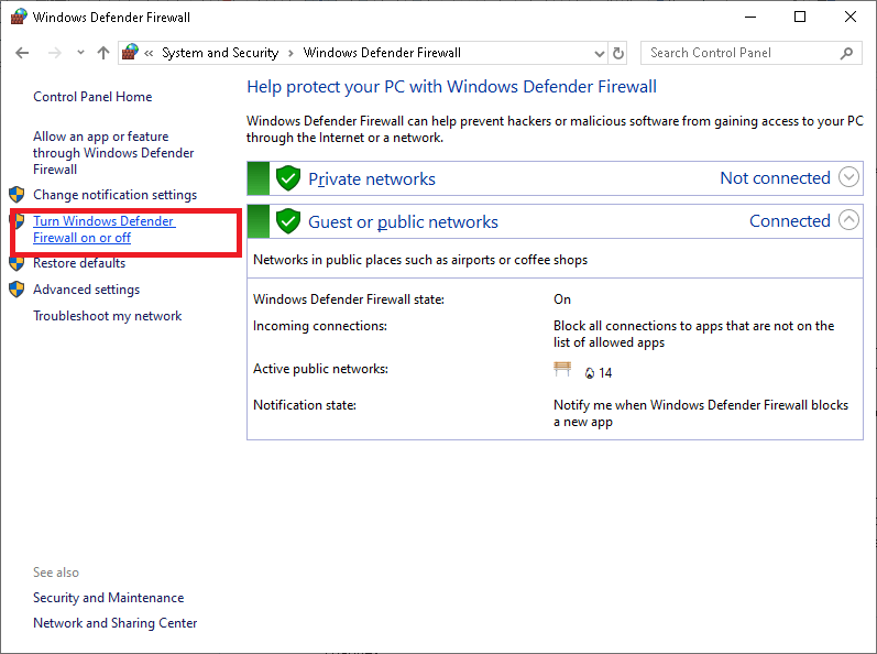 How to Disable Firewall