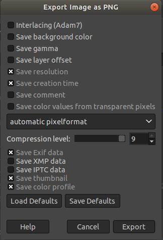 GIMP Save as Png
