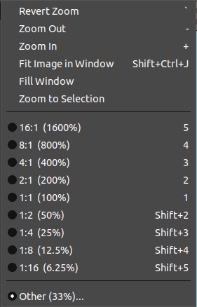 GIMP View Menu