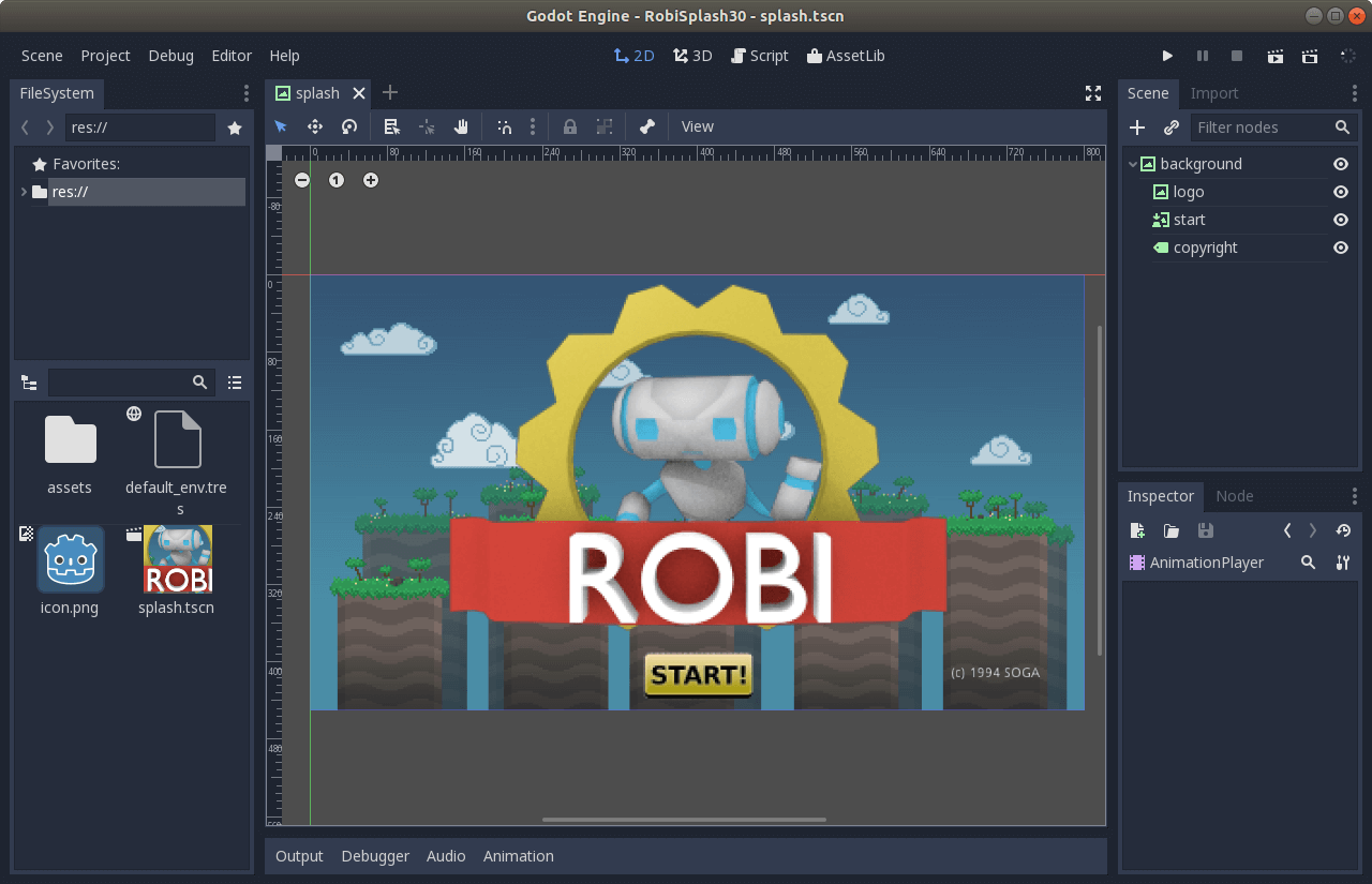 Splash screen in Godot
