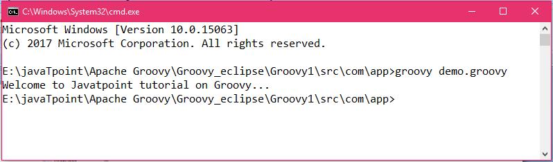 First Groovy Program