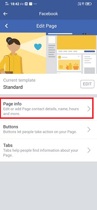 How to change the Facebook page name