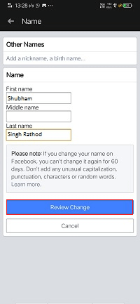 How to change the name on Facebook