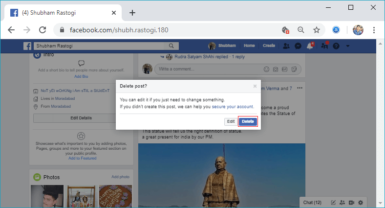How to delete the post from Facebook