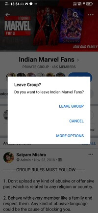 How to leave from a Facebook group