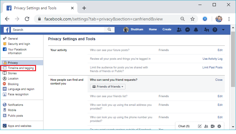 How to make the Facebook account private