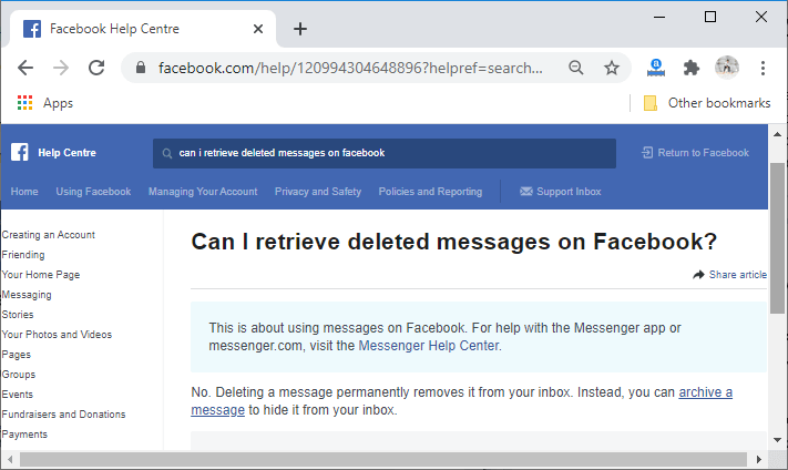 How to recover deleted message on Facebook
