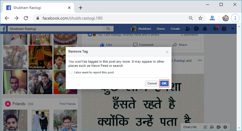 How to remove tag on Facebook