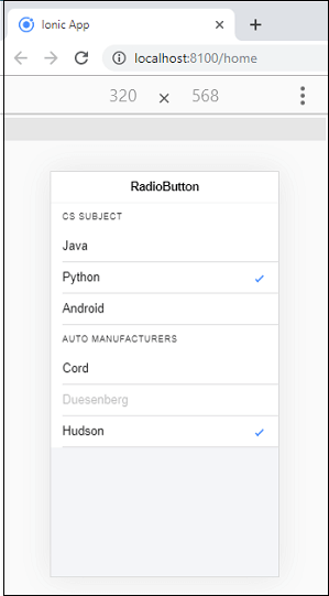 Ionic Radio Button