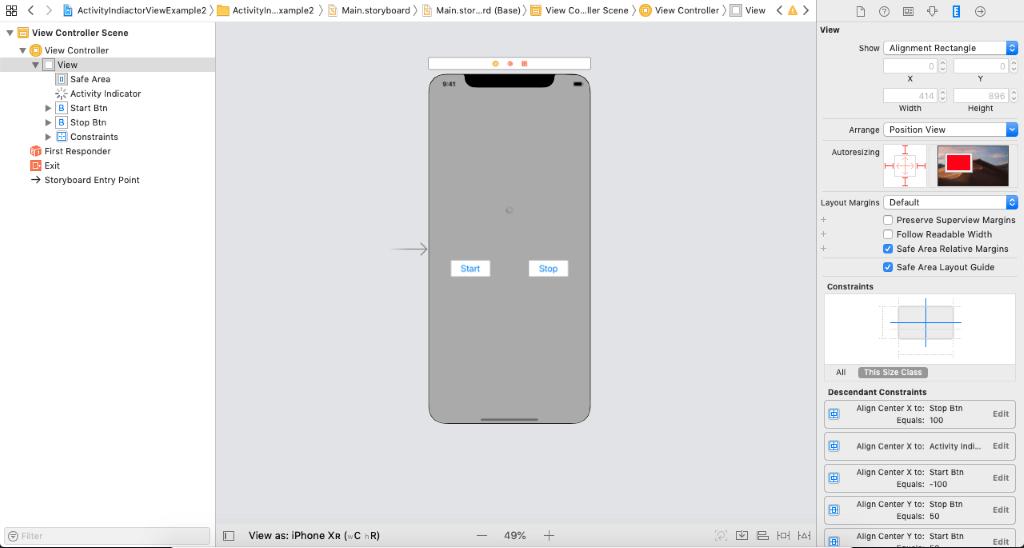 iOS ActivityIndicator View