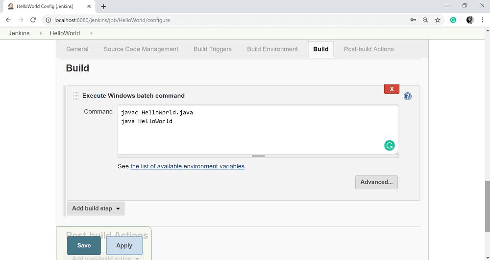 Jenkins Setup Build Jobs