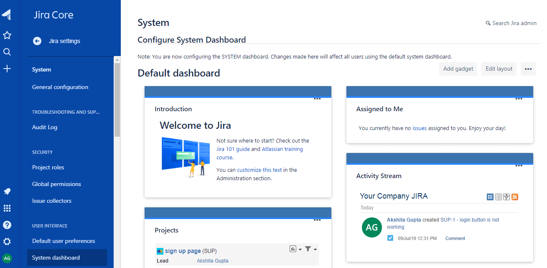 JIRA Dashboard