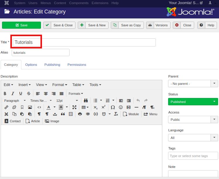 Joomla Category Management