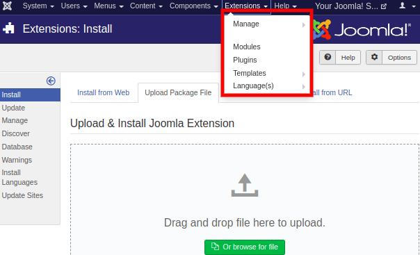Joomla Extensions Menu