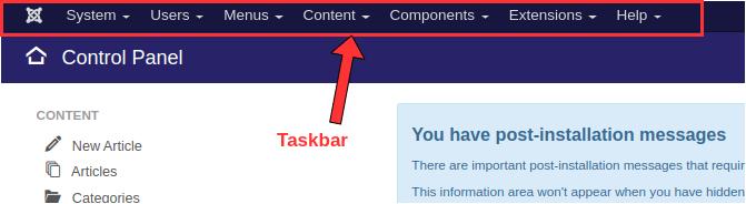 Joomla Taskbar