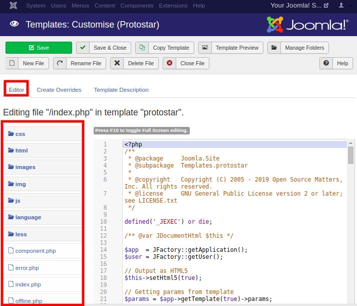 Joomla Templates Manage