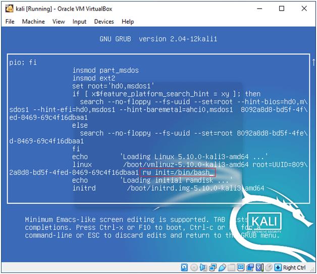 Kali Linux root password reset