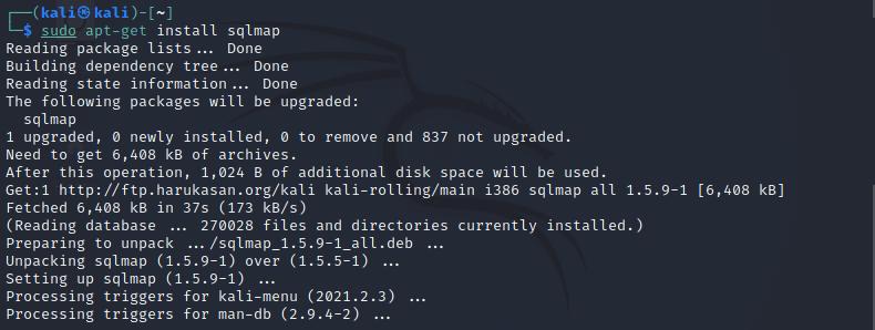 Sqlmap in Kali Linux