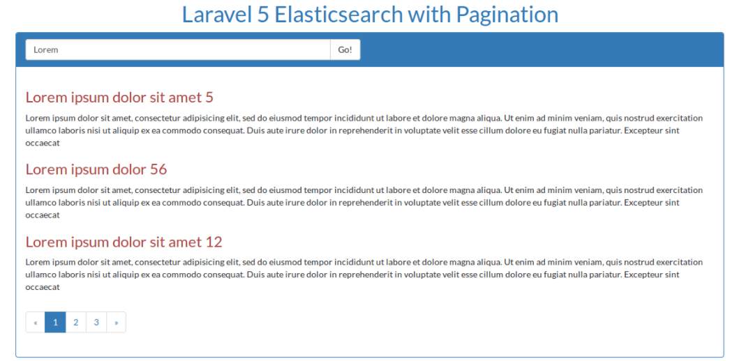 Elasticsearch with pagination in Laravel 5