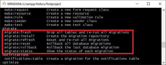 Comandos de migración de Laravel
